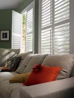 White full height shutters fitted to rectangular shape in a living room decorated with green walls and a sofa