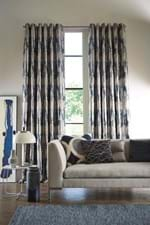 TS HARLEQUIN BLUE CURTAINS TAKARA INDIGO DENIM LIVING PORTRAIT