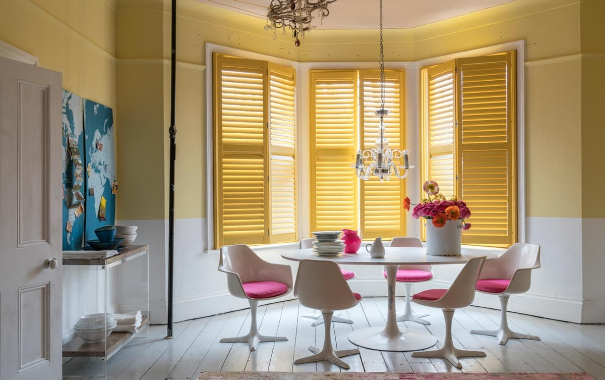 Coloured Dining Room Shutters