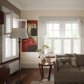 White tier on tier shutters in living room