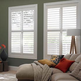 White made to measure shutters in living room