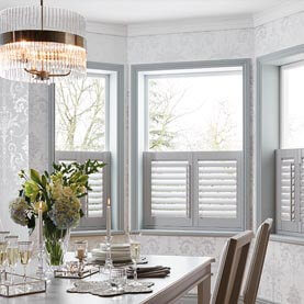 White café style dining room shutters