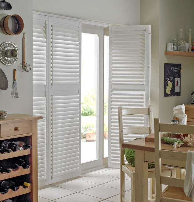 White full height kitchen shutters
