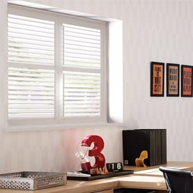 White office shutters on square window