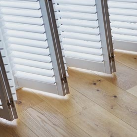 Close up of sliding shutters open