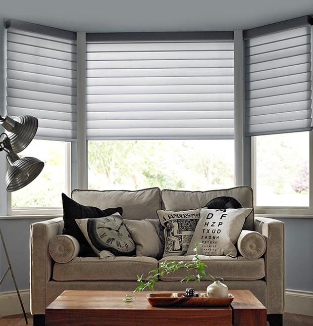 Bay Window Blinds Made To Measure With Thomas Sanderson Interesting Living Room Window Blinds Design