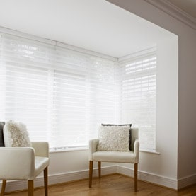 White made to measure blinds in square bay window