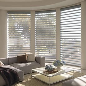 Curved bay window with open blinds