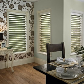 Brown Silhouette blind (similar to a Venetian blind) in dining room