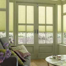 Neutral Duette blinds on wooden French Doors