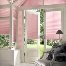 Pink made to measure French door blinds