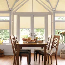 Cream French door blinds in dining room