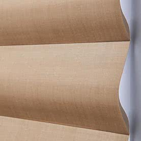 Close up of closed beige Pirouette blinds