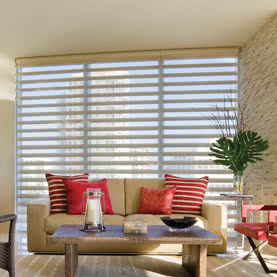 Tall window dressed with sheer Pirouette blinds