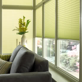 Green Pleated blinds on wall living room windows