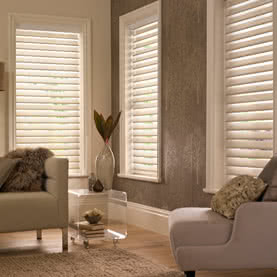 Three Cream Silhouette blinds tilted open