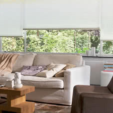 White Thermal blinds in living room