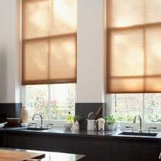 Brown Thermal blinds above kitchen sink