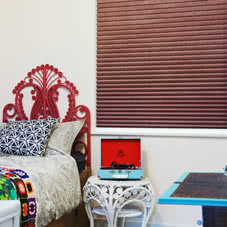 Red Thermal blinds in bedroom