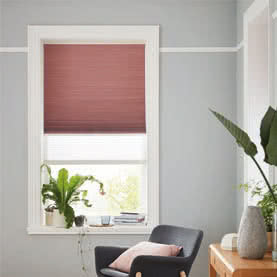 Dark red Duette twin shade blind