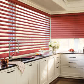 Open and closed red Pirouette kitchen blinds