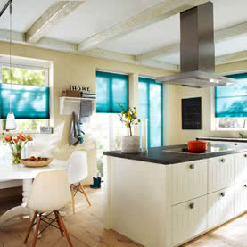 Blue Duette blinds on kitchen doors and windows
