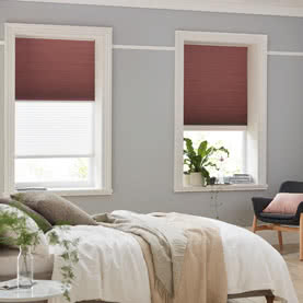 Two Twin Shade brown bedroom blinds