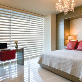 Neutral Pirouette blinds on large bedroom window