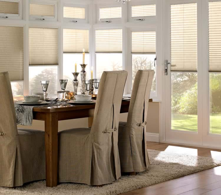 Translucent Dining Room Blinds Across Five Window Panes