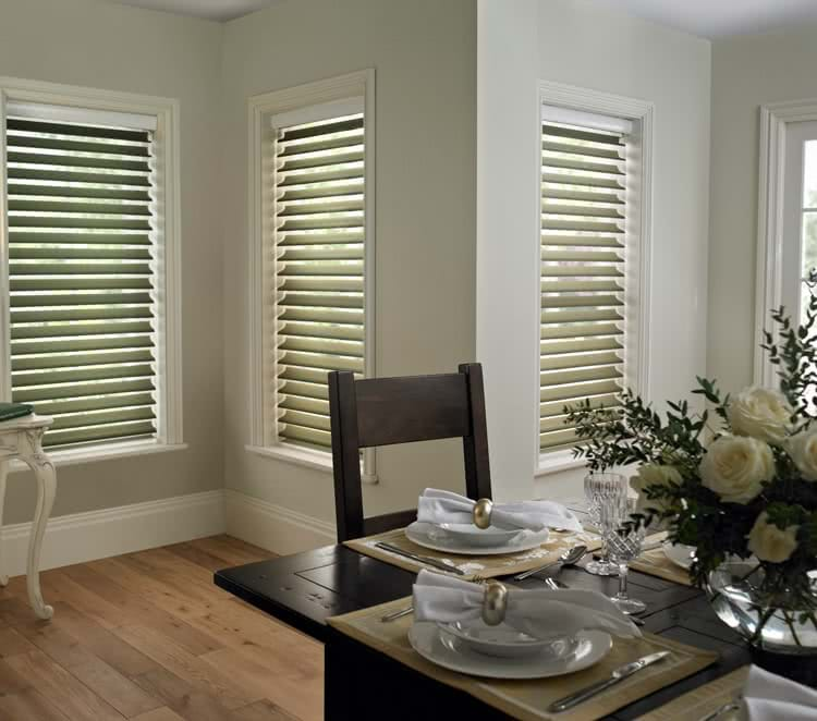 Dining Table Three Sheer Blinds In Living Room