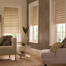 White Pirouette blinds on large living room window