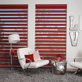Red pirouette blinds dressing modern study windows