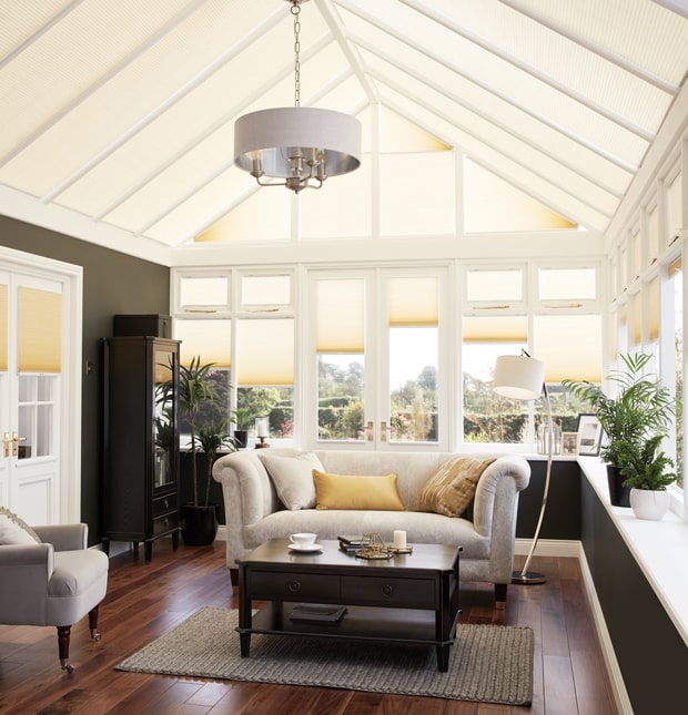 Conservatory blinds in large orangery
