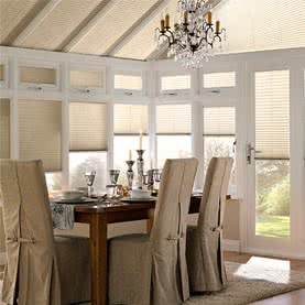 Cream conservatory blinds made from UV stablised polymers