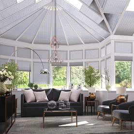 Grey Pleated blinds on conservatory windows and roof