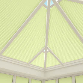 Close up of green conservatory roof blinds without cords