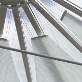 Close up of conservatory roof blinds in complex shape