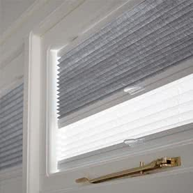 Grey and white Twin Shade blinds