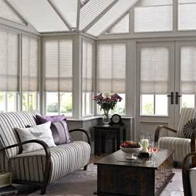Laura Ashley blinds in traditional conservatory