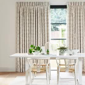 Pinch Pleat curtains in a dining room
