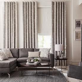 Grey curtains and blind in living room
