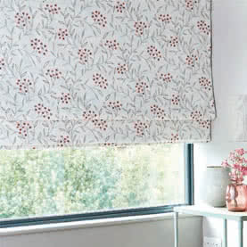 Made to measure Roman blinds with red and grey pattern