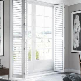 Open shutters across large French door