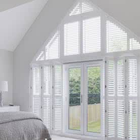 French door shutters across gable wall