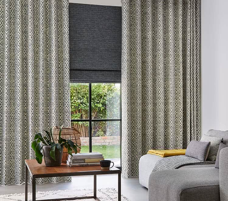 ... Patterned living room curtains with grey blind ... & Living Room Lounge Curtains - Blackout \u0026 Lined - Thomas Sanderson