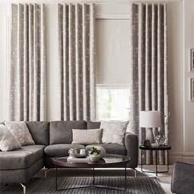 Grey patterned living room curtains