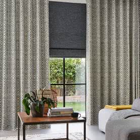 Patterned living room curtains with grey blind