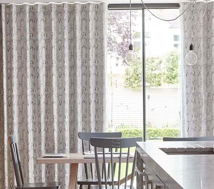 Grey Curtains Across Dining Room Sliding Door