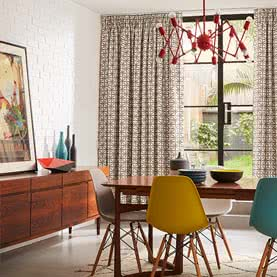 Geometric Pencil Pleat curtains in dining room